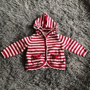 GYMBOREE striped red & white button up sweater